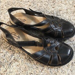 Clark's Bendables Black Leather Sandals